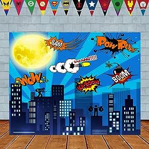 Superheld Geburtstag Foto Hintergrund 7 X 5ft Stadtbild Kamera