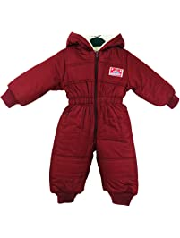 ebe155fc4 Toddler Baby Baby Kids Winter Warm Hooded Romper Fleece Boy Girl Snowsuit  Winter Bodysuit Outfit Maroon