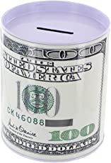 DFS Premium Dollar Print Metal Round Money Bank / Piggy Bank / Coin Box (Small)(Random Dollar Denominations)