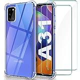 WINmall Cover per Samsung A31 [2 Pack Pellicola Vetro Temperato], [Rinforzare la Versione con Quattro Angoli] Custodia con Tr
