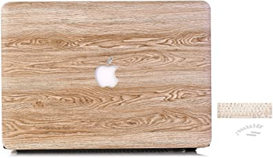 Brain Freezer Retro Wood Design Print Hard Cover Case Laptop Case for MacBook air 13 inch + Keyboard Cover + Dust Plugs Brown