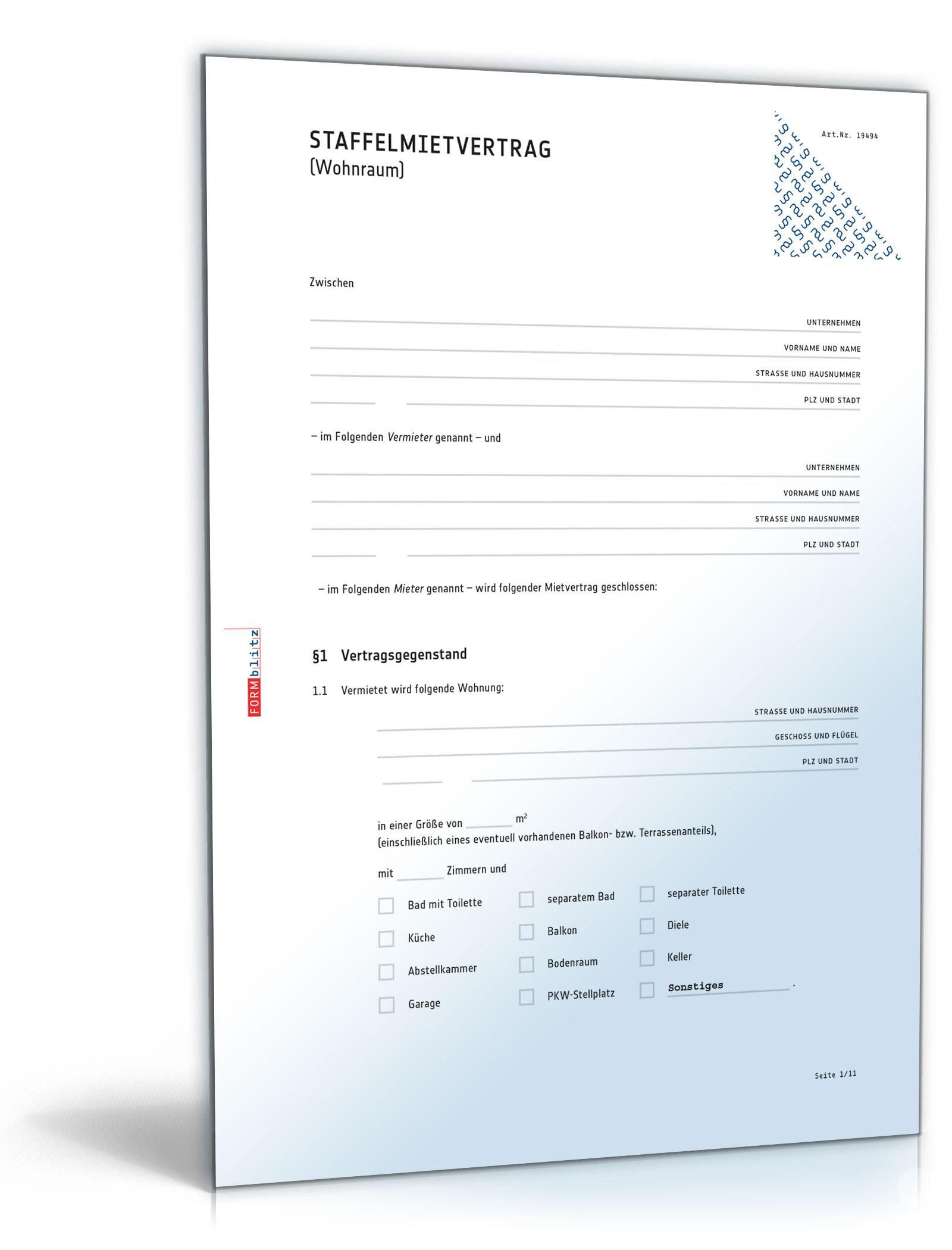 Staffelmietvertrag Wohnung [PDF]