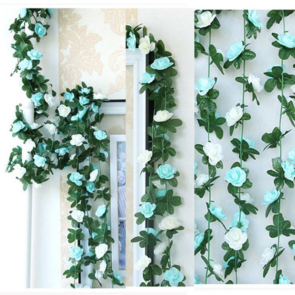 LumenTY – 2 guirnaldas con flores artificiales para decorar en casa, bodas, jardines, cumpleaños, festival, color morado…
