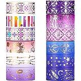 YUBX Oro Washi Tape Set Plata cinta adhesiva decorativa Washi Glitter Adhesivo de Cinta Decorativa para DIY Crafts Scrapbooki
