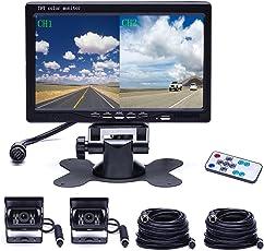 Camecho Dual Backup Kamera 4 Split Monitor hinten Kamera Auto 18 IR-Nachtsicht wasserdicht Aviation 4 Pins Anschluss 33 ft Kabel Für LKW/Wohnmobil-/Trailer/Bus