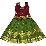 KANAKADARA Girl's Silk Readymade Lehenga Choli (KN0009600PURG_Purple & Green_6-12 Months)
