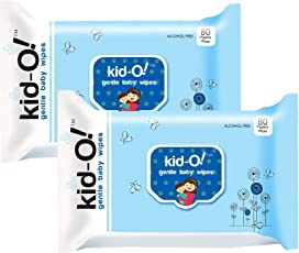 Kido Gentle Baby Wet Wipes with Aloe Vera, 15 cm x 20 cm, Pack of 2 (Kido Blue, 80 * 2=160 Count)