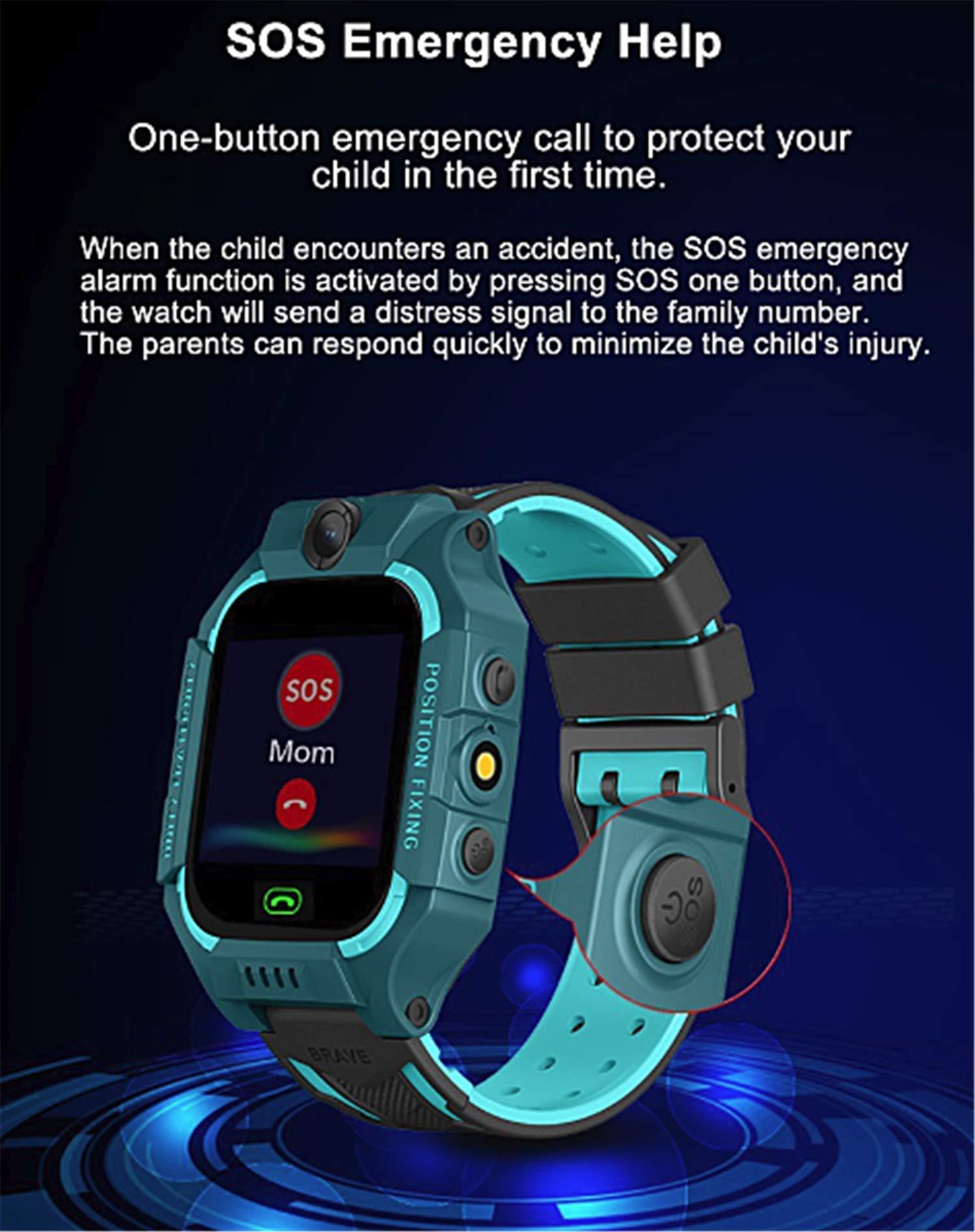 linyingdian Smartwatch Niños,Reloj Inteligente Niños con Flashlight, IP67 LBS SOS, Cámara, Smartwatch con Ranura para… 4