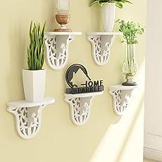 Home Sparkle Engineered Wood Carved Shelf Set (25 cm x 11.5 cm x 20 cm, White, Set of 5)