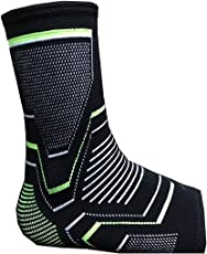 Alliance Network - Ankle Support Sleeves for Women and Men, Black & Neon Athletic Sleeve Supports sprained or Injured Ankles, Ankle Brace Lightweight and Knitted (1 Pair)