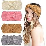 DRESHOW 4 Piezas Crochet Arco Turbante Knit Diadema Invierno Vendas Elasticas Anchas Tejida Lana CintasEl Pelo Banda de pelo