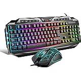 Anivia {DE Layout} Gaming Tastatur Maus Set GK710 Rainbow LED Hintergrundbeleuchtete Tastatur und Maus Combo Set für…
