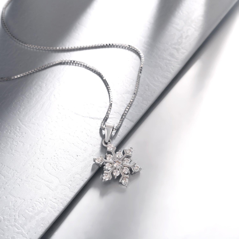 925 Sterling Argent Flocon de neige Boucles d/'oreilles Charme Zircone Cubique pour beauté femmes Bracelet Chaîne