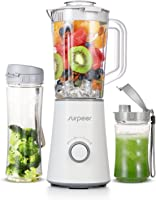 SURPEER Smoothie Maker,Mini Mixer Smoothie 350W,Standmixer Blender Hochleistung mit 2 Bottle pour Fruit/Milchshake/Babynahrung/Eiswürfel,Multifunktions Portable Juicer Blender,Weiß