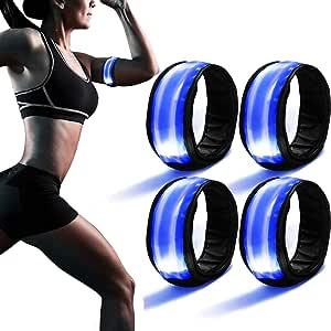 Braccialetto LED Bracciale Catarifrangente per Running Ryaco 2 Pack LED Bracciale Bici Fascia da Braccio LED Fascia Riflettente Alta visibilit/à Luce di Sicurezza Corsa Notturna Correre