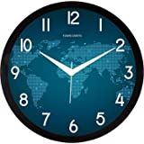 TOWN CRAFTS Plastic Round Wall Clock for Home/Kitchen/Living Room/Bedroom/ (Blue Map)