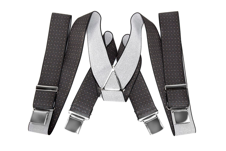 Bretelle uomo LUCIO LAMBERTI elastiche regolabili fantasia moro con 4 clips G291