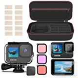 Deyard Accessories Kit Compatible with GoPro Hero 9, Shockproof Carry Bag + Waterproof Case + Tempered Glass Screen…