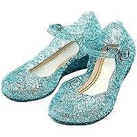 Scarpe con Tacco Zeppa e Cinturino - Elsa- Anna - Cenerentola - Principessa - Bambina - Suola 18 cm - Colore Blu con…