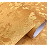 WOW Interiors Golden Flower PVC SELF Adhesive Wallpaper Peel and Stick Easy to Stick and Kitchen Bedroom LIVINGROOM CABINE- 2