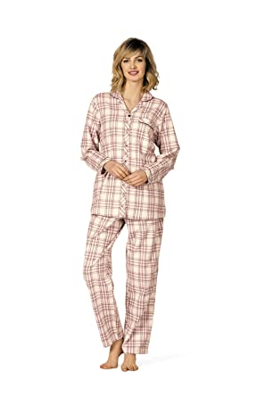 4192170c88 Comtessa Flanell Damen Schlafanzug: Amazon.de: Bekleidung