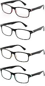 JM 4 Pacco Occhiali da Lettura Senza Montatura Occhiali da Vista Leggeri Rettangolari per Lettori Uomo Donna 3.0