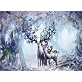 Twinsi 1000 Pieces Puzzle for Kids Adult Man Women Teens Wooden Jigsaw Puzzle Challenge and Fun- Deer in The Forest