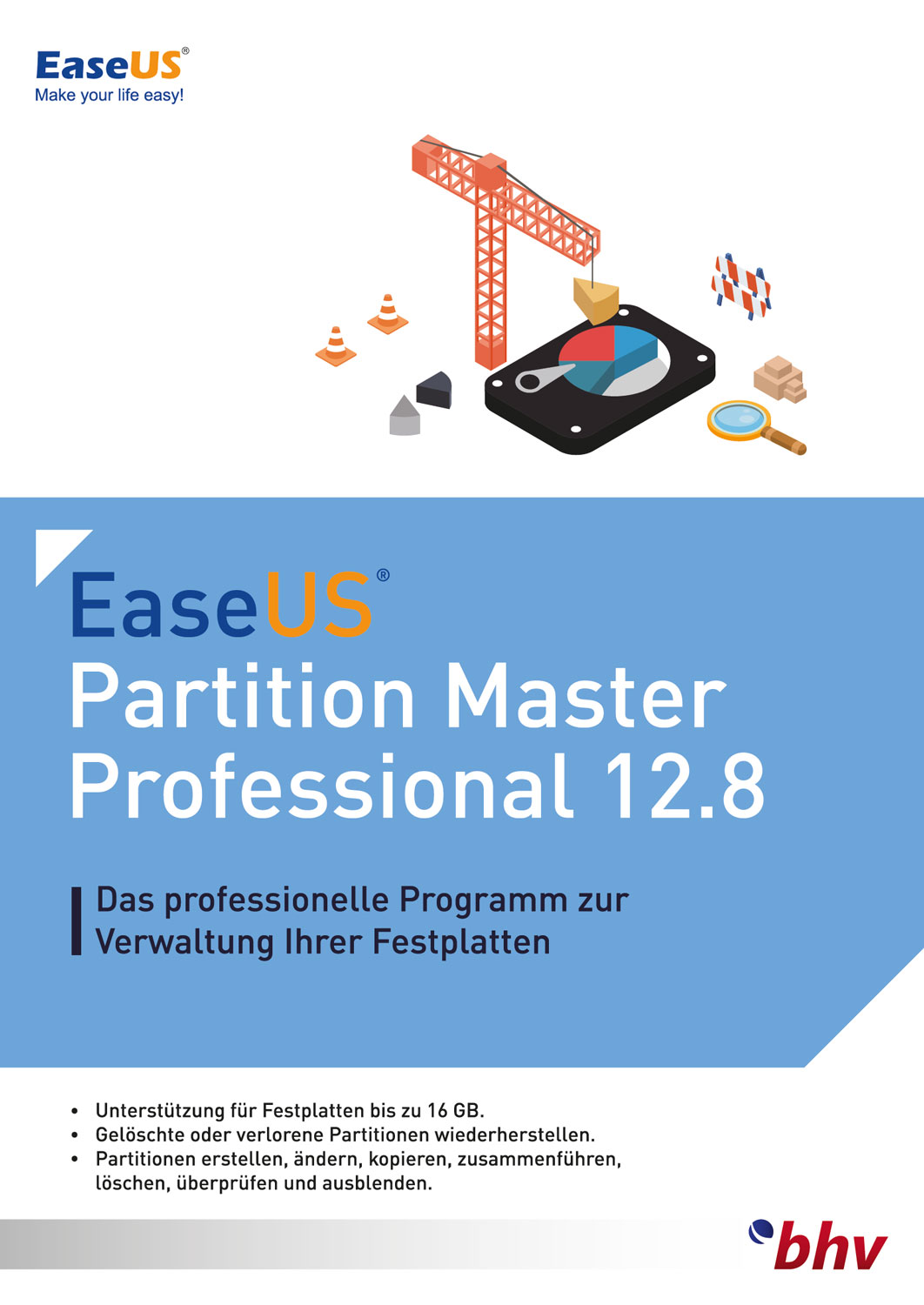 EaseUS Partition Master Professional 12.8 für PC [Download] (Festplatte Partition Software)