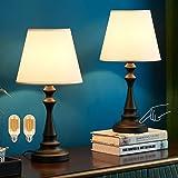 Lampe de chevet tactile, Kakanuo lampe de table avec abat-jour blanc en tissu, base noire en colonne romaine, lampe de chevet