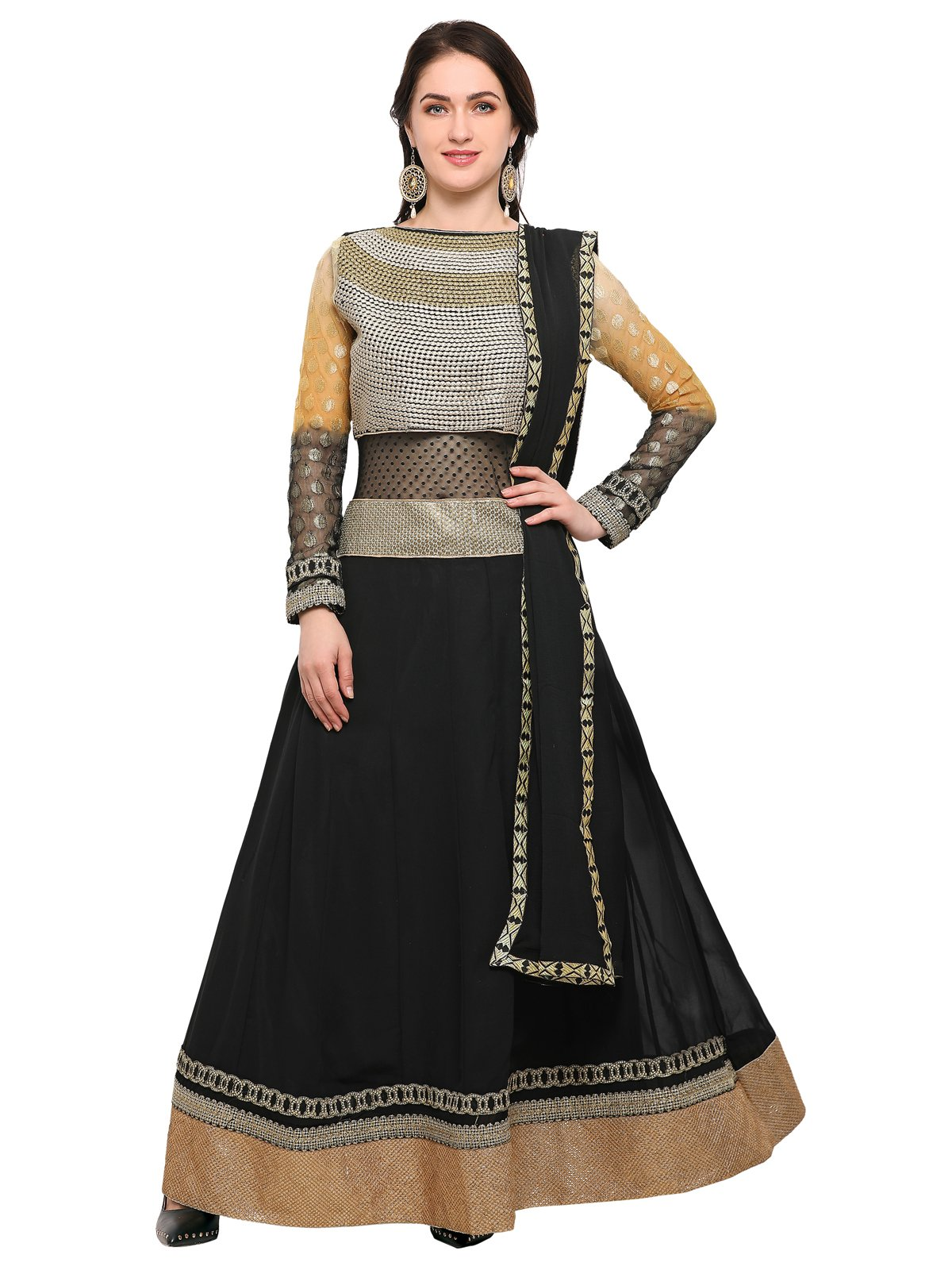 KANCHNAR Women's Georgette Semi-Stitched Dress Material (684D2065, Black, 44)