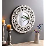 The Urban Store Wood Hand Crafted Round Shape Vanity Wall Mirror for Living Room, 50X 50 X 1.5 cm (Multicolor)
