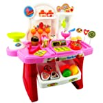FUNNYTOOL Luxury Supermarket Shop -Pink, Candy Sweet Shopping Cart, Ice Cream Role Play Set Toy for Kids (34PIECE)