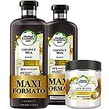 Herbal Essences Latte di Cocco: Shampoo 400 ml + Balsamo, 360 ml + Maschera 250 ml, Idratante, in Collaborazione con Giardini