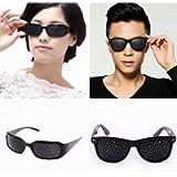 Set di 2 occhiali a foro stenopeico / occhiali buco nero per la formazione degli occhi per rilassarsi Pinhole Occhiali…
