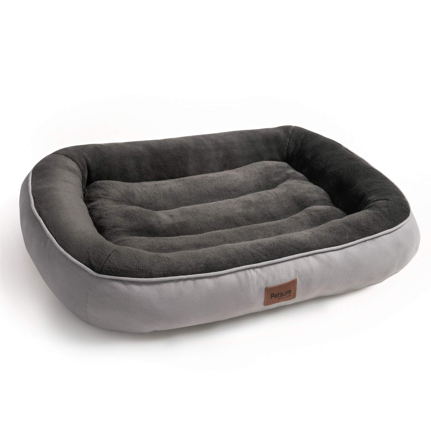 Bedsure Plush Dog Bed Extra Large Brown Machine Washable Pet Bolster Bed for Large Dogs Up to 45 KG 110x76x18cm