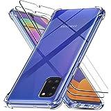Ferilinso Beschermhoes voor Samsung Galaxy A31 + 2 stuks displaybeschermfolie van gehard glas [transparante TPU-beschermhoes]