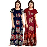 NEGLIGEE Women's Cotton Printed Nighty Combo Pack of 2, Free Size