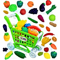 FunBlast Realistic Fruit & Vegetable Toy for Kids Toy with Shopping Cart Toy for Kids Girls Pretend Play Toy for Kids…