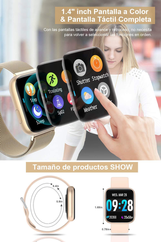BANLVS Smartwatch, 1.4 Inch Reloj Inteligente IP67 con Pulsómetro Presión Arterial, Monitor de Sueño Podómetro Contador de Caloría, Smartwatch Mujer Reloj Inteligente para Hombre Mujer Niños 2