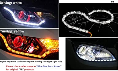 PR Daytime 16 LED Crystal Sequential DRL Running White with Yellow Turn Signal Light for Hyundai Creta- 1 Pair