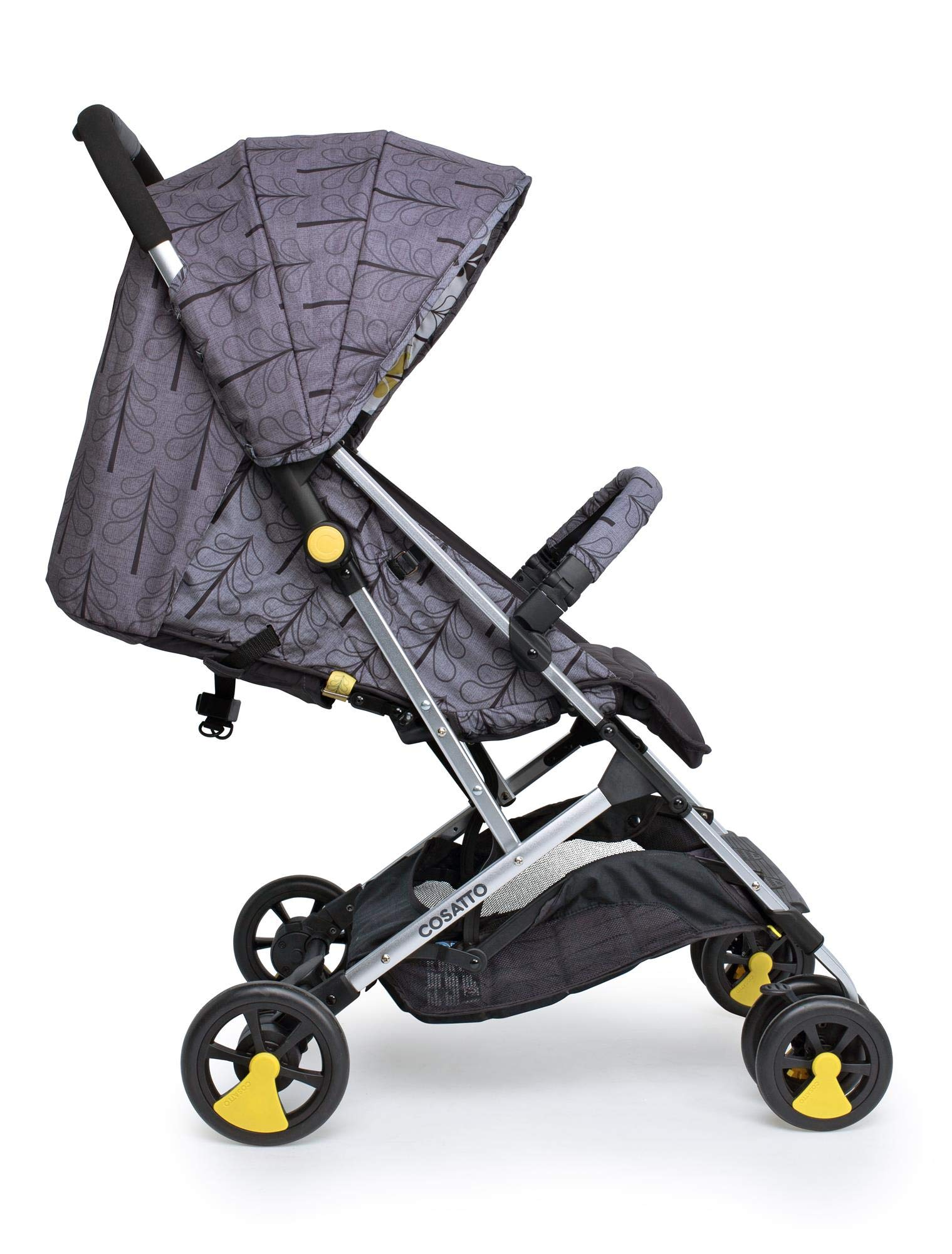 Cosatto Woosh 2 Stroller Fika Forest with raincover and Bumper bar Birth to 25kg Cosatto INCLUDES: The pushchair itself, Raincover, Bumper bar,4 year guarantee(UK and Ireland only) Suitable from birth to max weight of 25kg. Lets your toddler use it for even longer. Lightweight, sturdy aluminium frame. Newborn recline. Lightweight waterproof Ripstop fabric on seat. Lockable swivel front wheels for quick manoeuvres Roomy seat for extra comfort. Removable bumper bar for extra support. Magic bell. Front & rear suspension for a smooth ride. 2