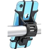 Bovon Support Vélo du Guidon, [Installation Facile] Support Téléphone Bicyclette Silicone Réglable pour Les 4,5-6,5 Pouces Smartphones, Idéal pour VTT Vélo de Route Moto (Noir)