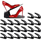 Shoe Slots Organizer for Closet 20 Pack Adjustable Shoe Stacker Space Saver,Double Layer Shoe Rack Organizer Holder Black