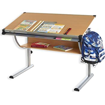 IDIMEX Kinderschreibtisch CHRISTINA, höhenverstellbar und neigungsverstellbar, Buche Dekor, Schülerschreibtisch Jugendschreibtisch Schreibtisch für Kinder