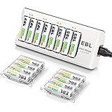 EBL Chargeur de Piles AA/AAA 8 Slots- avec 16pcs AA Piles Rechargeables 2800mAh Haute Capacité avec Boîte de Piles