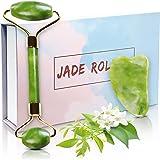 Rullo di giada Verde Autentico con Gua sha 100% Originale e Naturale, Massaggiatore per il viso e per il cambiamento della vo