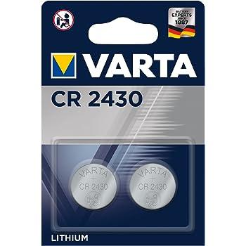 VARTA CR 2430, 6430101402, Batteria Litio a Bottone, Piatta, Specialistica, 3 Volts, Diametro 24,5mm, Altezza 3mm, confezione 2 pile