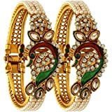Archi Collection Antique Traditional Ethnic 18 k Peacock Design Kada Set Bracelet Bangle, Jewellery for Women and Girls