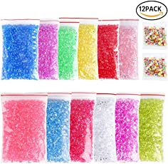 Fancyku 12 Pack Colorful Fishbowl Beads Clear Vase Filler Beads Crunchy Slime Beads for Homemade Slime, Arts DIY Crafts, Party or Wedding Decoration
