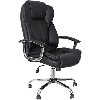 SONGMICS OBG57B Bürostuhl mit verbreiterter Sitzfläche, ergonomisches Design, schwarz